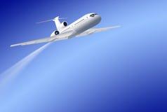 Aeroplano di volo su priorità bassa blu Fotografie Stock Libere da Diritti