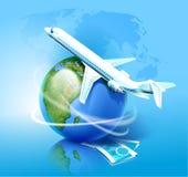 Aeroplano ed il globo Fotografie Stock Libere da Diritti
