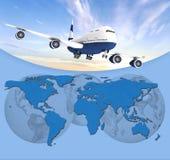 Aeroplano en fondo azul Imagen de archivo