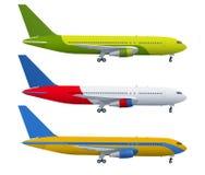 Aeroplano en fondo azul Modelo industrial del aeroplano Avión de pasajeros en vista lateral Ejemplo plano del vector del estilo stock de ilustración