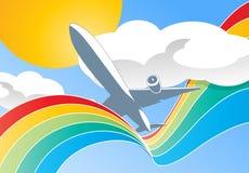 Aeroplano en nubes Stock de ilustración