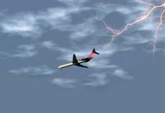 Aeroplano en tormenta foto de archivo libre de regalías