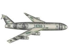 Aeroplano hecho de los dólares que vuelan sobre blanco Foto de archivo