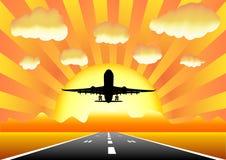 Aeroplano i8 de la puesta del sol Fotos de archivo libres de regalías