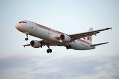 Aeroplano, Iberia en Barcelona Foto de archivo libre de regalías