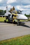 Aeroplano militar Jas 39 Gripen Fotos de archivo libres de regalías