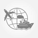 Aeroplano, nave y globo Imagenes de archivo
