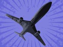Aeroplano negro del vector Imagen de archivo libre de regalías