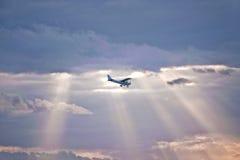 Aeroplano nel cielo Fotografie Stock