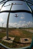 Aeroplano nel fisheye Immagini Stock Libere da Diritti