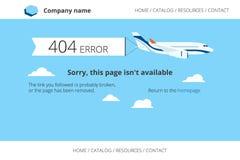 Aeroplano plano con la notificación de 404 errores Imagenes de archivo