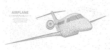 Aeroplano Aeroplano poligonal abstracto del wireframe 3d aislado en blanco con los puntos Fotos de archivo
