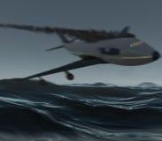 Aeroplano que causa un crash en el océano Foto de archivo libre de regalías