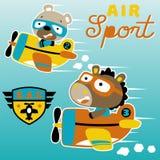 Aeroplano que compite con la historieta con el piloto lindo libre illustration