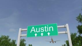 Aeroplano que llega al aeropuerto de Austin El viajar a la animación conceptual 4K de Estados Unidos stock de ilustración