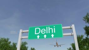 Aeroplano que llega al aeropuerto de Delhi El viajar a la representación conceptual 3D de la India Imagen de archivo libre de regalías