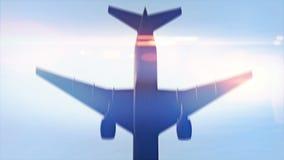Aeroplano que pasa por encima en la cámara lenta metrajes