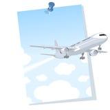 Aeroplano que sale de un cartel stock de ilustración