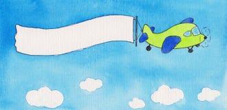 Aeroplano que tira de la bandera en blanco Imagen de archivo libre de regalías