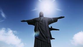 Aeroplano que vuela sobre el Cristo las imágenes de vídeo del redentor ilustración del vector