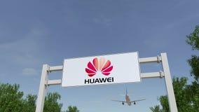 Aeroplano que vuela sobre la cartelera de publicidad con el logotipo de Huawei Representación editorial 3D imagen de archivo