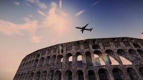 Aeroplano que vuela sobre las imágenes de vídeo del coliseo ilustración del vector