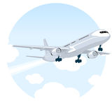 Aeroplano que vuela sobre las nubes Ilustración del Vector