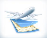 Aeroplano sobre boletos del vuelo, ejemplo del vector Imágenes de archivo libres de regalías