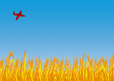 Aeroplano sobre el campo Stock de ilustración