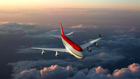 Aeroplano sopra le nuvole Fotografia Stock Libera da Diritti