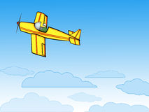 Aeroplano su cielo blu Fotografia Stock