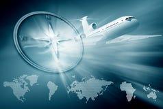 Aeroplano su priorità bassa blu Fotografia Stock Libera da Diritti