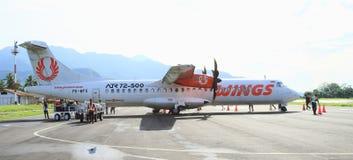 Aeroplano Wings Air en aeropuerto Imagen de archivo libre de regalías