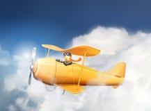 Aeroplano y piloto en las nubes stock de ilustración