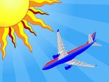 Aeroplano y Sun Fotos de archivo libres de regalías