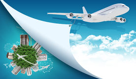 Aeroplano y tierra con los edificios libre illustration