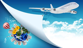 Aeroplano y tierra con los edificios Fotos de archivo libres de regalías