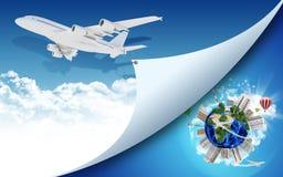Aeroplano y tierra con los edificios Imagenes de archivo
