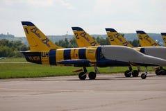Aeroplanos bálticos del grupo del pilotaje de las abejas en el salón aeroespacial internacional MAKS-2017 de MAKS Imagen de archivo libre de regalías