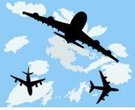 Aeroplanos con el fondo Fotografía de archivo