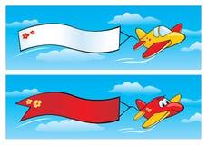 Aeroplanos con las banderas ilustración del vector