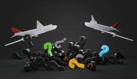 Aeroplanos 3d-illustration de los signos de interrogación Imagen de archivo libre de regalías