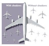 Aeroplanos de arriba de la opinión del vector fijados Fotografía de archivo libre de regalías