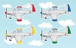 Aeroplanos de la historieta fijados Fotos de archivo