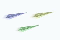 Aeroplanos de la papiroflexia Fotografía de archivo