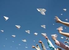 Aeroplanos de papel Imagen de archivo libre de regalías