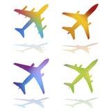 Aeroplanos del vector del color del gradiente Foto de archivo libre de regalías