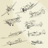 Aeroplanos dibujados mano Imagenes de archivo