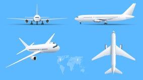 Aeroplanos en fondo azul Modelo industrial del aeroplano Avión de pasajeros en el top, lado, vista delantera Vector plano del est ilustración del vector