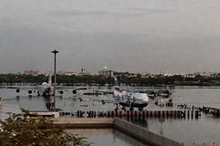 Aeroplanos inundados   Imagen de archivo libre de regalías